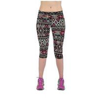 Wholesale Yomsong Brand Women Funny Basic Elegant Geometric Tribal Printing Skintight Pliable Capri Leggings from china suppliers
