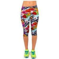Wholesale Salable Funny Calendula Flowers Printed Absorbing Knee-length Capri Leggings from china suppliers