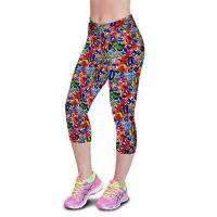 Wholesale Crystal Stone Floral Printing Knee-length High Waist Elastic Slim Capri Leggings from china suppliers