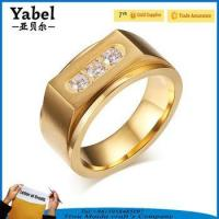 Wholesale Gold Stainless Steel Wedding Zircon Three-stone Ring Designs For Men from china suppliers
