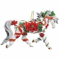 Horse of a Different Color Poinsettia Arabian 2.75 Ornament with Tin