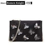 Wholesale 2017 factory designer butterflies decorative leather shoulder bag with chain from china suppliers