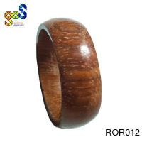 KOA wood ring with black carbon fiber and blue lines
