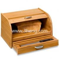 Wholesale Eco-friendly Bamboo Rolltop Bread Box with Pull-Out Drawer from china suppliers