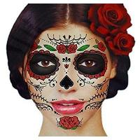 Wholesale Glitter Red Roses Day of the Dead Sugar Skull Temporary Face Tattoo Kit - Pack of 2 Kits from china suppliers