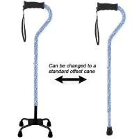 Aluminum Adjustable Convertible Quad 4 Legged Walking Cane with Comfort Gel Grip Blue Cloud