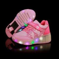 Drop shipping summer super-light flashing shoes cool design kids led shoes with heelys and wheels