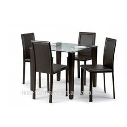 2014 cheap square glass top dining table and chair set