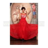 A-line silk beaded red sexy long evening dress, prom cocktail dress