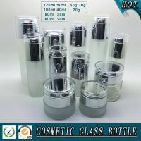 Acid Etch Fosted glass cosmetic bottle and glass cosmetic cream jar