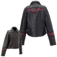Wholesale Diamond Plate Rock Design Ladies Genuine Leather Jacket from china suppliers