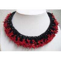 NL1017 - Red Coral and Black Onyx Necklace