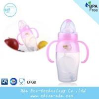 Wholesale New Style Infant Baby 240ML Wide Neck Anti-microbial Silicone Feeding Bottle With Handles and Straw from china suppliers