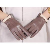 Bowknot Cuff Sheep Leather Ladies Wearing Leather Gloves , Women's Hand Gloves