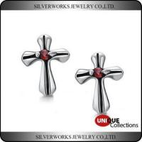 Wholesale Men's Gothic Punk Thai Silver Cross Shapen CZ Silver Stud Earring With Zricon from china suppliers