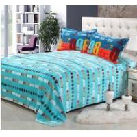 New design 100% stripe printing 3 pcs set flannel blanket and pillowcase for home use