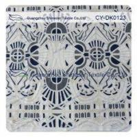White And Black Big Geometric Cotton Polyester Lace Fabric , 1.45 - 1.5m