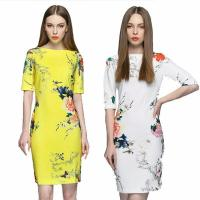 Wholesale OEM Women dress Elegant Design Boat Neck Cotton Custom T Shirt Printing Women's Dresses from china suppliers