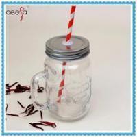 Wholesale Glass Mason Jar with Handle 14 oz Glass Beverage Container with Straw from china suppliers