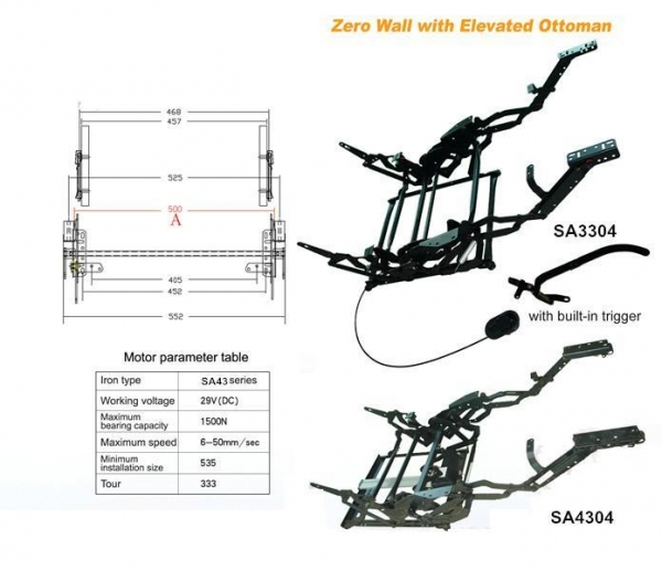 Sa4304 Zero Wall With Elevated Ottoman Electric Recliner Chair Sofa Mechanism Images 16844761