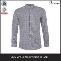 Wholesale Brown And Navy Gingham Long Sleeve Smart Shirt from china suppliers
