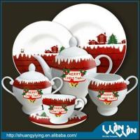 Wholesale elegant Christmas design porcelain tea set from china suppliers