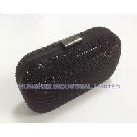 China Luxury Crystal Evening Bags with Black Satin and Black Crystal HHJ-506 wholesale