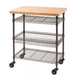 Bronze Kitchen Work Table Cart With Bamboo Top