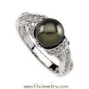 China 14K White Gold 8mm Freshwater Cultured Black Pearl And Diamond Ring on sale