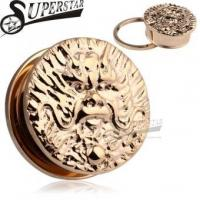 Chinese Zodiac Dragon Logo Casting Rose Gold Stainless Steel Ear Plug