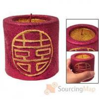 Wholesale Red Double Happiness Glittery Surface Pillar Candle Mothers Day Gifts from china suppliers