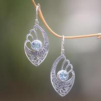 Wholesale Handmade Blue Topaz and Sterling Silver Dangle Earrings, 'Blue Wings' from china suppliers