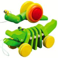Children wooden toy pull and push toy, funny wooden push back car toy ...
