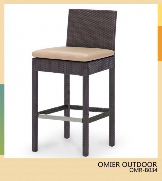 Outdoor High Back Bar Stools Furniture Wicker Bar Chair