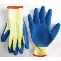 Wholesale 10 gauge yellow cotton liner blue latex coated wrinkle finished working glove from china suppliers