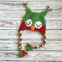 Wholesale Christmas sleepy owl hat for boys and girls, crochet christmas hat in red and green from china suppliers
