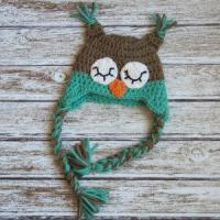 Wholesale Sleepy owl crochet cotton hat for baby in light brown and aqua from china suppliers