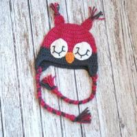 Wholesale Sleepy owl crochet hat for girls in pink and gray from china suppliers
