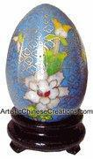 Chinese Cloisonne Egg - Flowers #25