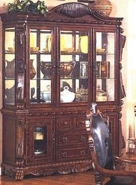 Acme brussels mahogany 3 door china hutch curio display for W furniture brussels