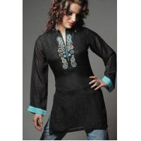 Wholesale Tops Black Self Print Chiffon from china suppliers