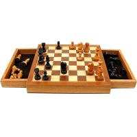 Elegant Inlaid Wood Cabinet w/ Staunton Wood Chessmen Chess Set