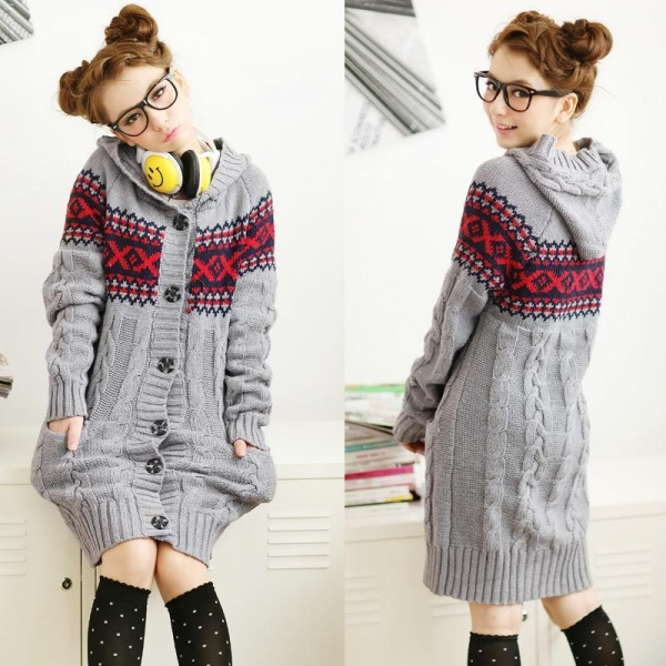 Coat E152 Grey Knit Pattern Hood Sweater Coat of jpstyle4u