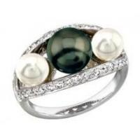 China 18K White Gold and Diamond Akoya and Black Tahitian Cultured Pearl Ring 0.39ct RPSRG-20155W on sale
