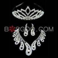 Wholesale Weddings & Events 3 Pieces Shiny Clear Austrian Crystal Wedding Bridal Jewelry Sets from china suppliers