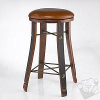 China Bars & Consoles Vintage Oak Wine Barrel Round Bar Stool with Leather Seat on sale