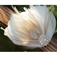 Wholesale KISSPAT Bridal Fascinator Clip,Wedding Headpieces,Feather Accessory with White Dimaond Jewel from china suppliers