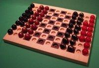 Wooden Marble Game Board, 2 GAMES IN 1, Chess & Checkers, Maple & Walnut [W-1929alt.#2]