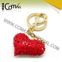 Wholesale Fancy keychains FK-0149 Red Heart Shape Gold Plated Crystal Bag Accessories, keyrings from china suppliers