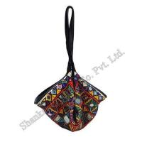 Tribal Mirror worked Potli Bag with Leather Trims